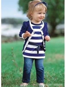 Детский костюм для девочки тройка - цвет синий джинс