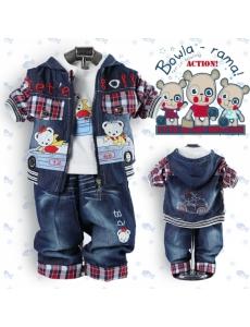 Детский костюм для мальчика тройка - цвет синий джинс