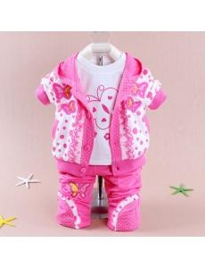 Детский костюм для девочки тройка  - цвет розовый бабочка