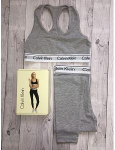 Женский набор двойка топ-лосины Calvin Klein. Цвет серый