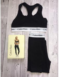 Женский набор двойка топ-лосины Calvin Klein. Цвет черный