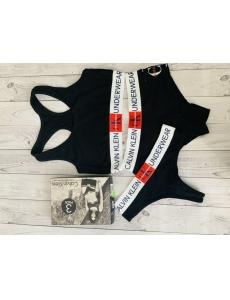 Женский набор тройка топ-стринги-шорты Calvin Klein. Цвет черный.