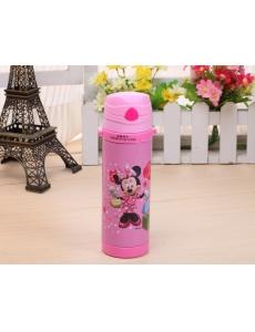 """Термос для девочки """"Минни Маус (Minnie Mouse)"""" с трубочкой, цвет розовый"""