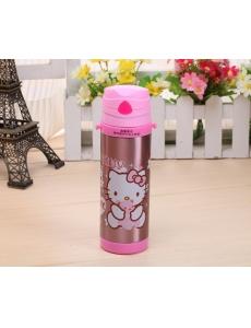 "Термос для девочки ""Хеллоу Китти (Hello Kitty)"" с трубочкой, цвет розовый металлик"