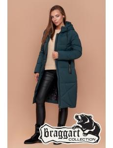 Женская зимняя куртка, пальто женское Braggart. Цвет бирюза