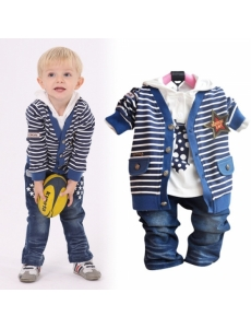 Детский костюм для мальчика тройка - цвет синий звезда