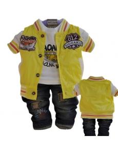 Детский костюм для мальчика тройка - цвет желтый автобус
