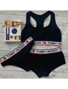 Женский набор тройка топ-стринги-шорты Tommy Hilfiger. Цвет черный